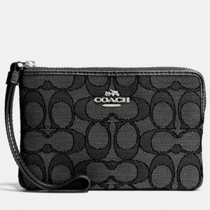 Coach Wristlet In Coated Signature Canvas